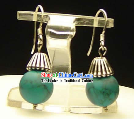 Beijing Silver Song Stone Earrings