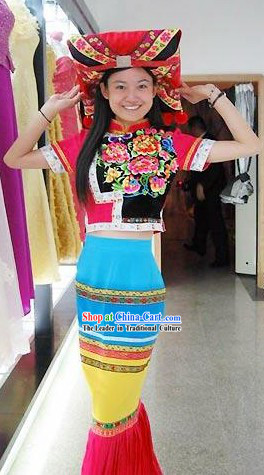 Chinese Zhuang Minority Happy Celebration Dance Costume and Hat Set for Women