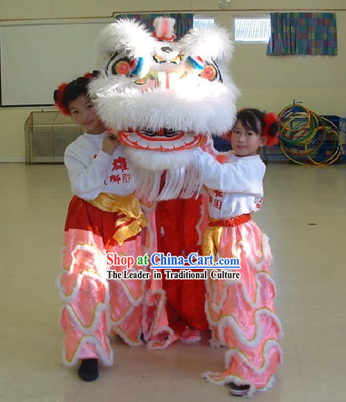 Luminous Competition and Parade Long Wool Kids Lion Dance Costumes Complete Set