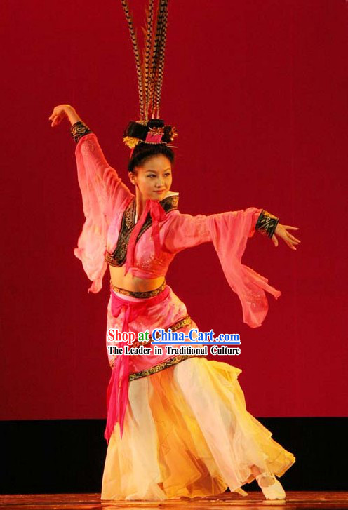 Chinese Classic Han Dynasty Dance Costumes with Long Feather Hat - Chu Yao