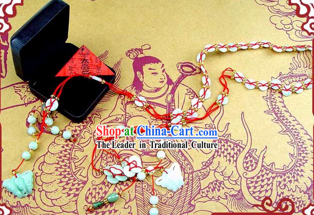 Chinese Classic Kai Guang Butterfly Green Jade Long Belt _bless your safety and avoid bad_