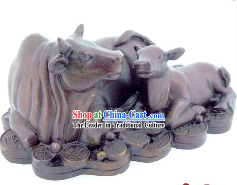Chinese Classic Kai Guang Money Mother and Baby Brass Cow _increase your good luck_