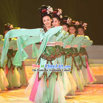Traditional Chinese Ta Ge Palace Dance Costumes and Wig Complete Set