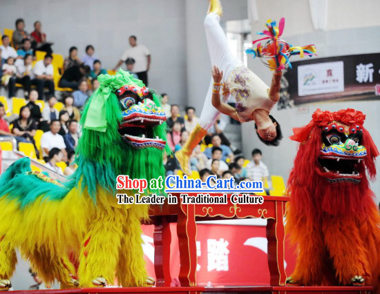 Traditional Chinese Northern Lion Dance Costume 2 Sets