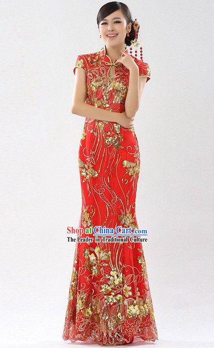 75e671349 Traditional Chinese New Year Red Cheongsam
