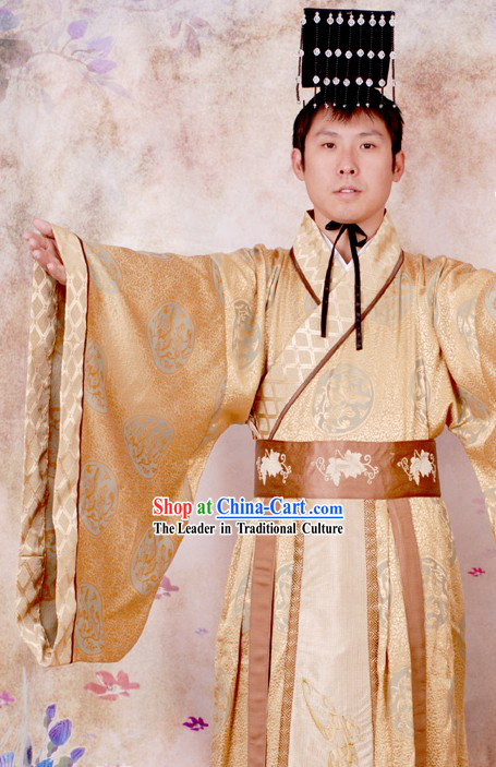 Ancient Chinese Qin Dynasty Qin Chao Qin Shi Huang First Emperor Costume and Hat Complete Set