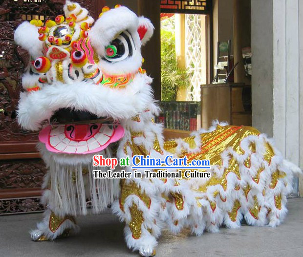 Supreme Yellow and White Powerful Lion Dance Costume Complete Set