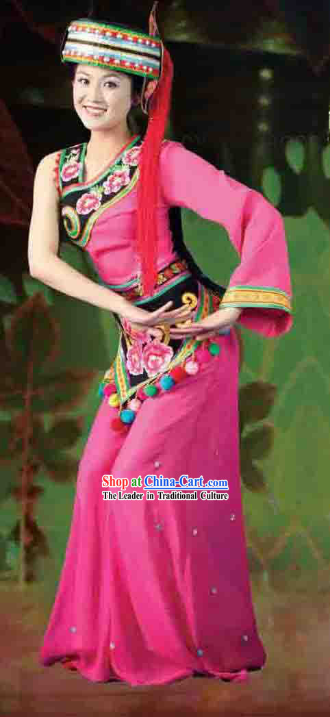 Chinese Yi Ethnic Minority Clothing and Hat for Women