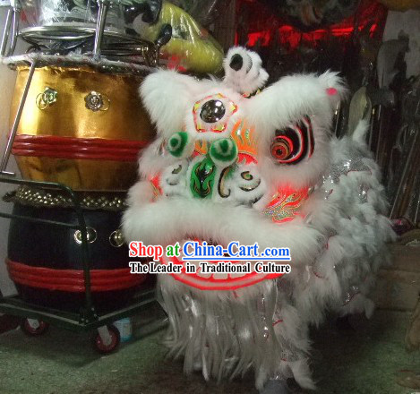 Professional Competition White Wool Lion Dance Costume Complete Set