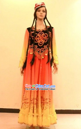 Traditional Chinese Xinjiang Dance Costume for Girls