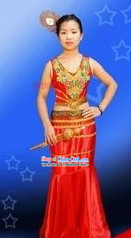 Traditional Thailand Red Dance Costume for Women