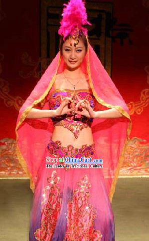 Chinese Stage Performance Xinjiang Dance Costumes and Headwear for Women