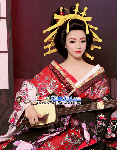 Traditional Japanese Geisha Kimono Costumes and Hair Accessories Complete Set for Women