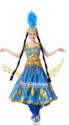 Traditional Chinese Xinjiang Minority Dance Costumes and Hat for Women