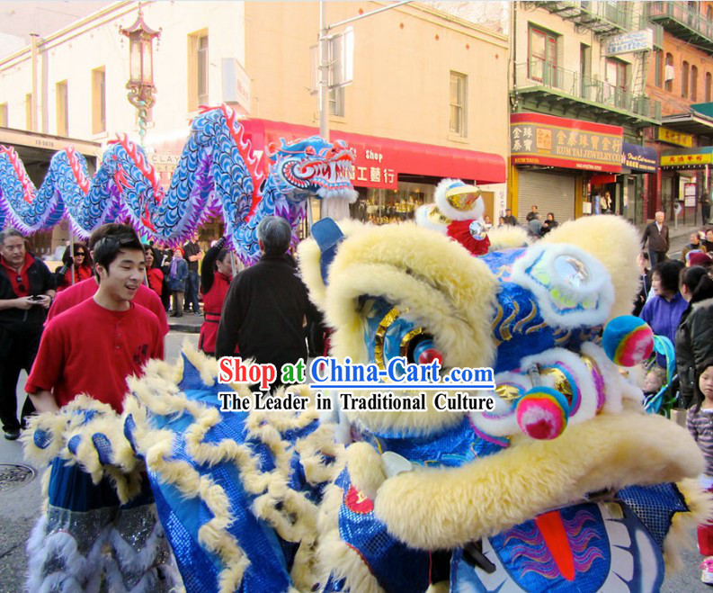 Blue Chinese Traditional Lion Dance and Dragon Dance Costumes Two Complete Sets