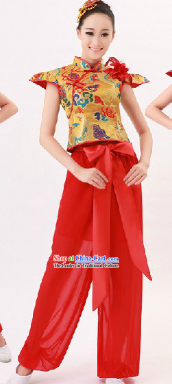 Red Traditional Chinese Drum Player Costume for Women
