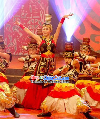 Traditional Chinese Xinjiang Ethnic Dancing Costumes and Hat for Women