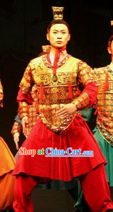 Chinese Qin Dynasty Period Terracotta Terra Cotta Warrior Hat and Dance Costumes Complete Set for Men