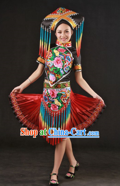 Top Guangxi Province Zhuang Recital Dance Costumes and Hat Complete Set