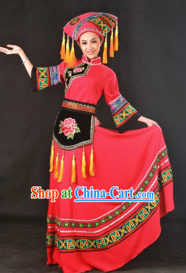 Top Guangxi Zhuang Minority Group Dance Costumes and Headwear