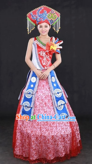 Zhuang Ethnic Regional Costumes and Hat Complete Set for Women