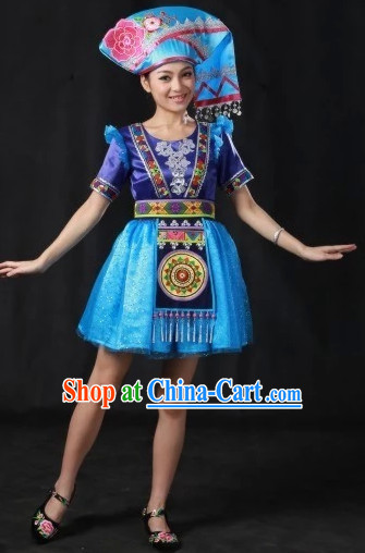 Zhuang National Dance Costumes and Hat Complete Set for Women