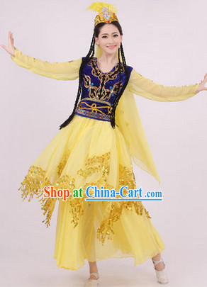 Traditional Xinjiang Dance Costumes and Headwear for Girls