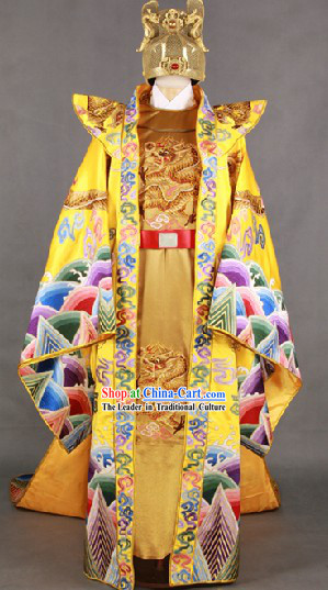 Ancient Tang Dynasty Emperor Dragon Clothing Costumes and Crown Hat Complete Set for Men