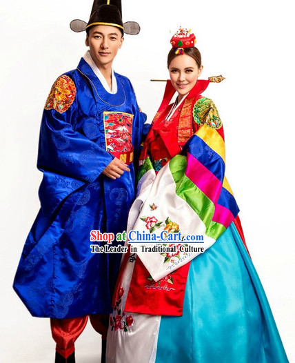 e90cabe340979 Ancient Korean Wedding Dresses and Hat for Bride and Bridegroom