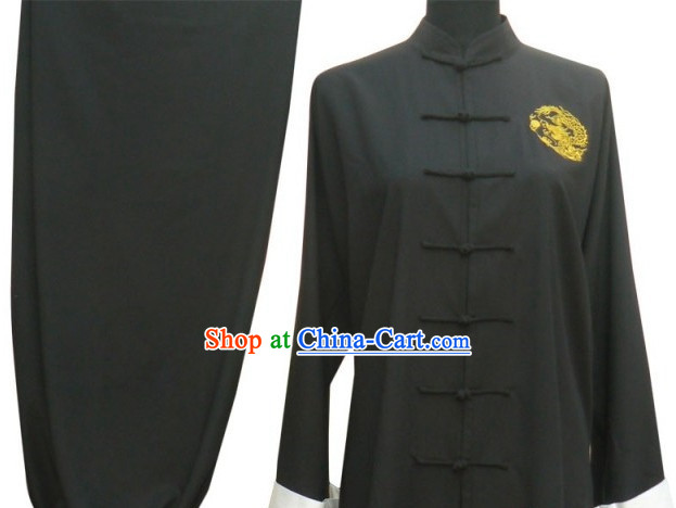 Top Long Sleeves Black Martial Arts Tai Chi Teacher Suit