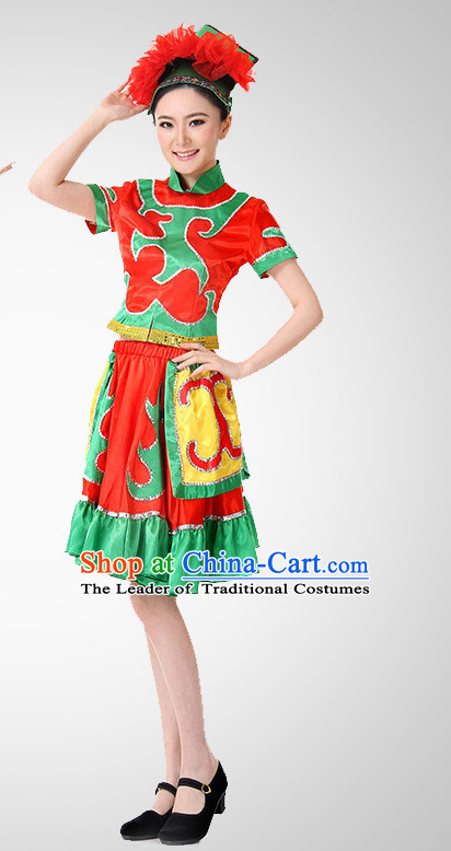 Chinese Folk Ethnic Dance Costume Wholesale Clothing Discount Dance Costumes Dancewear Supply and Headpieces for Ladies
