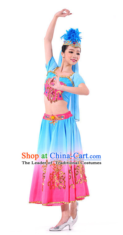 Xinjiang Folk Dance Costume Wholesale Clothing Discount Dance Costumes Dancewear Supply and Headpieces for Ladies
