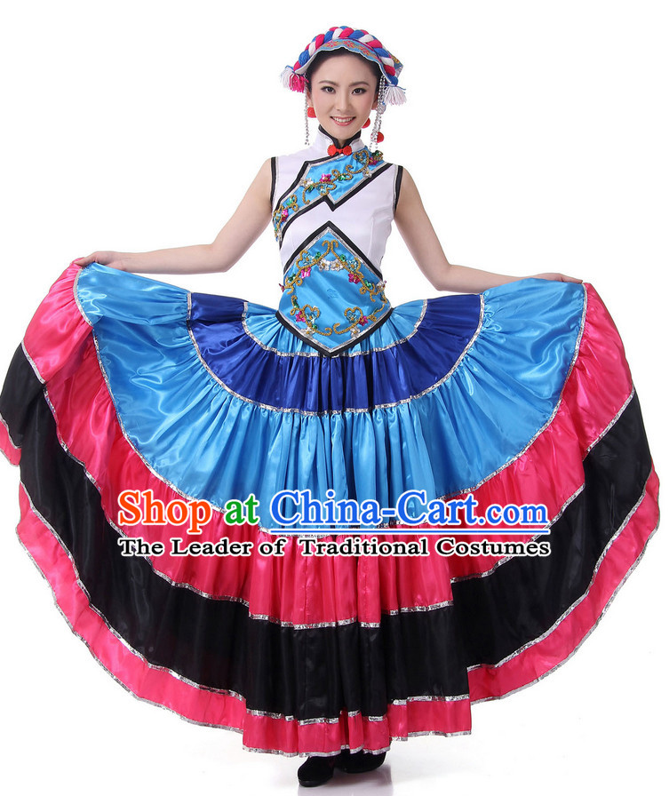 Chinese Festival Ethnic Dance Costume Wholesale Clothing Group Dance Costumes Dancewear Supply for Lady