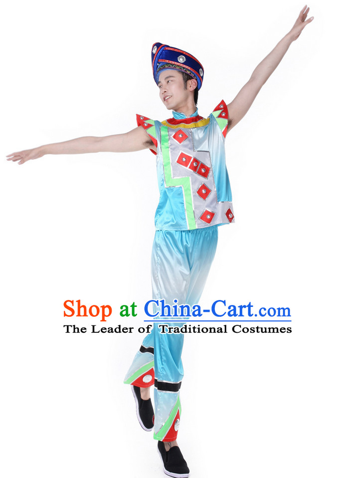 Chinese Folk Fan Dance Costume Wholesale Clothing Group Dance Costumes Dancewear Supply for Men