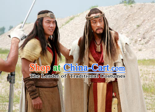 New Stone Age Costume Ancient Yan Emperor Chinese National Identity Origin Descendants Shennong Yandi Xia Dynasty Costumes Complete Set
