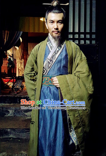 China Eastern Zhou Dynasty Official Prime Minister Adviser Wise Men Costume Complete Set