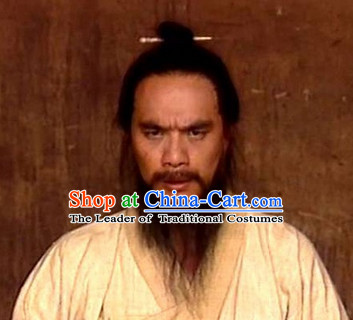 China Eastern Zhou Dynasty Black Long Wigs for Men