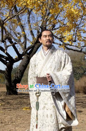 China Eastern Zhou Dynasty Spring Autumn Zhuangzi Chuang-tzu Costumes Chinese Costume Ancient Chinese Foundational texts of Daoism Complete Set for Men