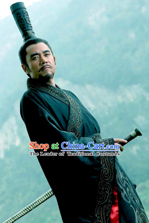 China Eastern Zhou Dynasty Spring Autumn Duke Huan of Qi Huan Gong Powerful Hegemon Chinese Costume Complete Set for Men