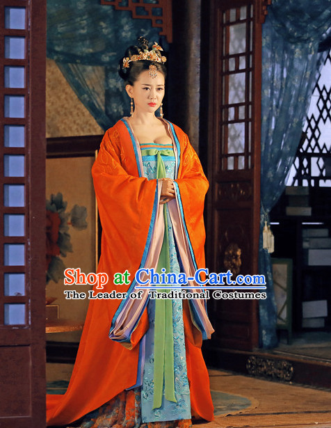 Chinese Tang Dynasty Princess Wencheng Costumes Costume Complete Set for Women