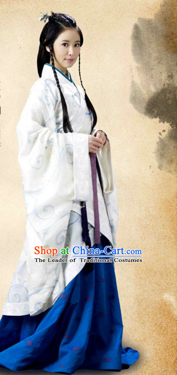 Chinese Han Dynasty Costume Dresses Clothing Clothes Garment Outfits Suits Complete Set for Women
