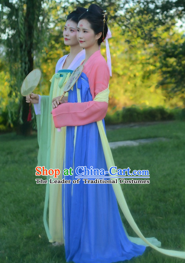 Blue Ancient Chinese Costumes Free Custom Tailored Service Tang Dynasty Classic Dresses Costume for Women