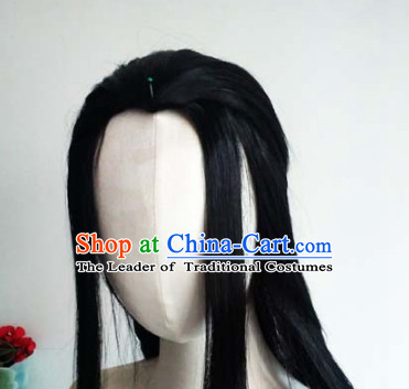 Ancient Chinese Men Wigs Toupee Wigs Human Hair Wig Hair Extensions Sisters Weave Cosplay Wigs Lace