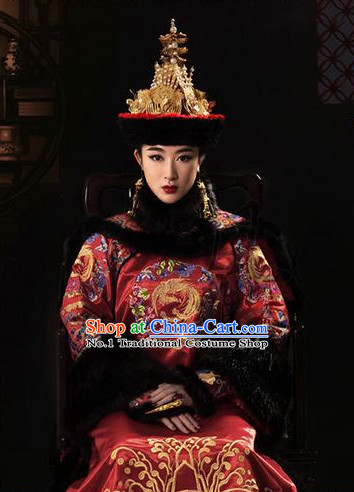 Chinese Qing Dynasty Empress Costumes and Phoenix Hat Complete Set