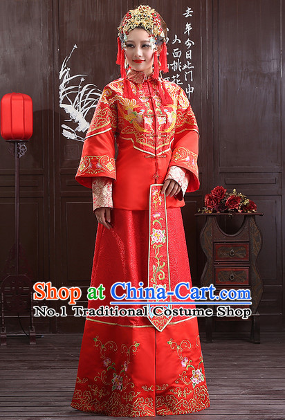 Chinese Traditional Wedding Ceremonial Outfit and Phoenix Crown Complete Set for Women