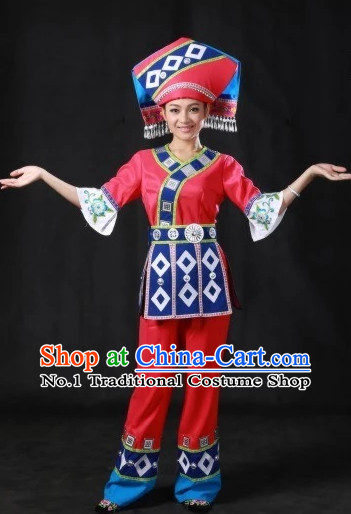 Traditional Chinese Ethnic Zhuang People Folk Clothes and Hat Complete Set for Women