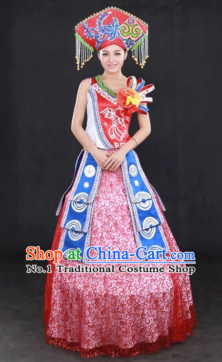 Traditional Chinese Zhuang People Folk Dresses and Hat Complete Set for Women