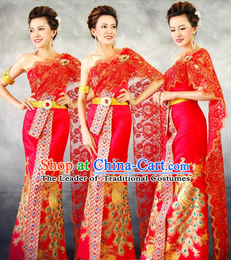 Traditional Thailand Formal Wedding Dresses National Costumes and Hair Accessories Complete Set for Women