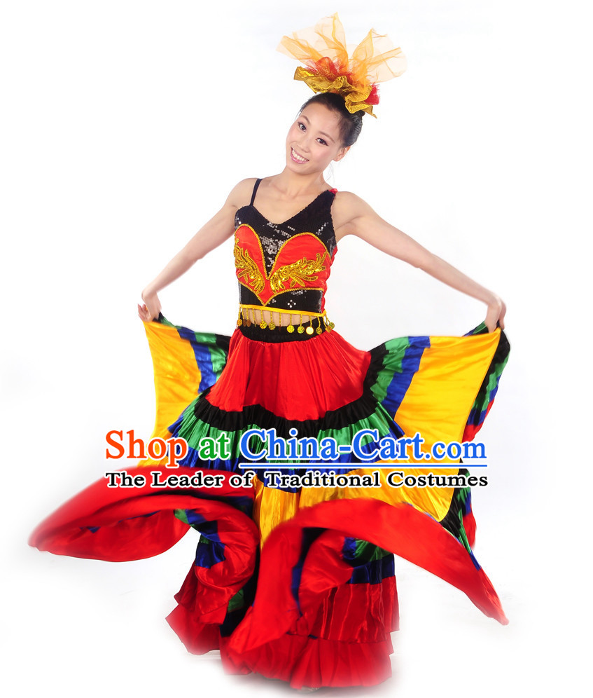 Chinese Minority Yi Dance Clothes Costume Uniforms for Women
