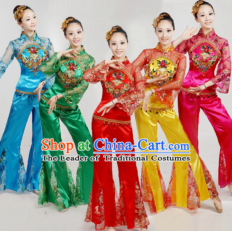 09c87a5c5 Chinese Folk Dance Costumes Ribbon Dancing Costume Dancewear China Dress  Dance Wear and Hair Accessories Complete